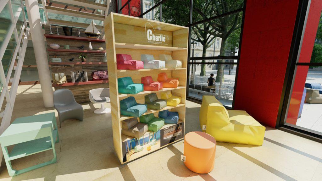 mobilier extérieur présenté dans un meuble pour les distributeurs